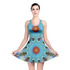 Pattern Blue Brown Background Reversible Skater Dress