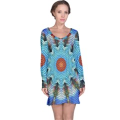 Pattern Blue Brown Background Long Sleeve Nightdress