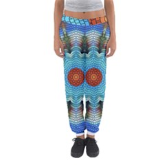 Pattern Blue Brown Background Women s Jogger Sweatpants