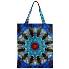 Pattern Blue Brown Background Zipper Classic Tote Bag