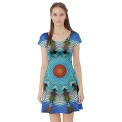 Pattern Blue Brown Background Short Sleeve Skater Dress