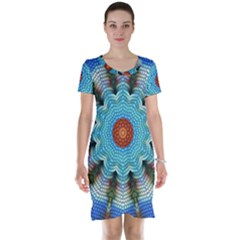 Pattern Blue Brown Background Short Sleeve Nightdress