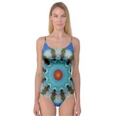 Pattern Blue Brown Background Camisole Leotard
