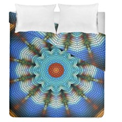 Pattern Blue Brown Background Duvet Cover Double Side (queen Size)