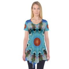 Pattern Blue Brown Background Short Sleeve Tunic