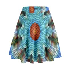 Pattern Blue Brown Background High Waist Skirt