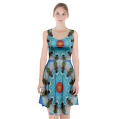 Pattern Blue Brown Background Racerback Midi Dress