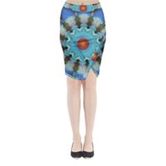 Pattern Blue Brown Background Midi Wrap Pencil Skirt