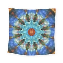 Pattern Blue Brown Background Square Tapestry (small)