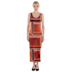 Portugal Ceramic Tiles Wall Fitted Maxi Dress