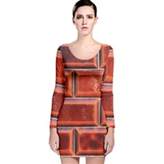 Portugal Ceramic Tiles Wall Long Sleeve Velvet Bodycon Dress