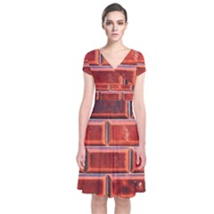 Portugal Ceramic Tiles Wall Short Sleeve Front Wrap Dress