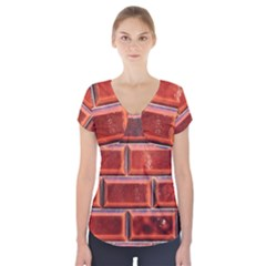 Portugal Ceramic Tiles Wall Short Sleeve Front Detail Top