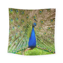 Peacock Animal Photography Beautiful Square Tapestry (small)