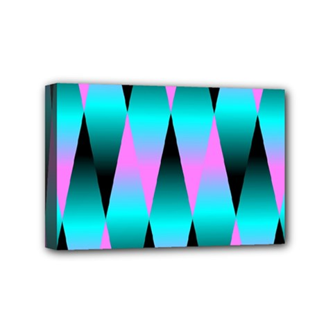 Shiny Decorative Geometric Aqua Mini Canvas 6  X 4