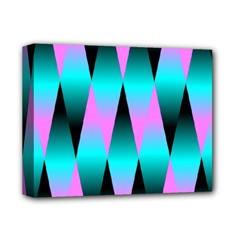 Shiny Decorative Geometric Aqua Deluxe Canvas 14  X 11
