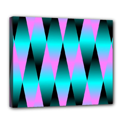 Shiny Decorative Geometric Aqua Deluxe Canvas 24  X 20
