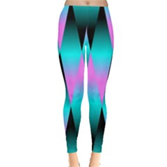 Shiny Decorative Geometric Aqua Leggings