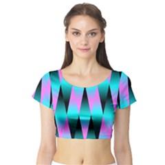 Shiny Decorative Geometric Aqua Short Sleeve Crop Top (tight Fit)