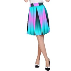 Shiny Decorative Geometric Aqua A Line Skirt