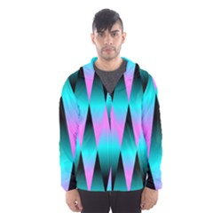 Shiny Decorative Geometric Aqua Hooded Wind Breaker (men)
