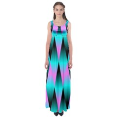 Shiny Decorative Geometric Aqua Empire Waist Maxi Dress