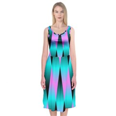 Shiny Decorative Geometric Aqua Midi Sleeveless Dress