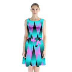 Shiny Decorative Geometric Aqua Sleeveless Chiffon Waist Tie Dress
