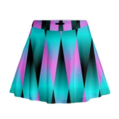 Shiny Decorative Geometric Aqua Mini Flare Skirt