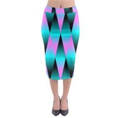 Shiny Decorative Geometric Aqua Midi Pencil Skirt