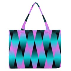Shiny Decorative Geometric Aqua Medium Zipper Tote Bag
