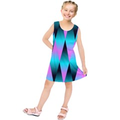 Shiny Decorative Geometric Aqua Kids  Tunic Dress