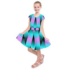Shiny Decorative Geometric Aqua Kids  Short Sleeve Dress