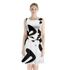 Athletics Pictogram Sleeveless Chiffon Waist Tie Dress