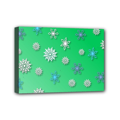 Snowflakes Winter Christmas Overlay Mini Canvas 7  X 5