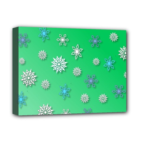 Snowflakes Winter Christmas Overlay Deluxe Canvas 16  X 12