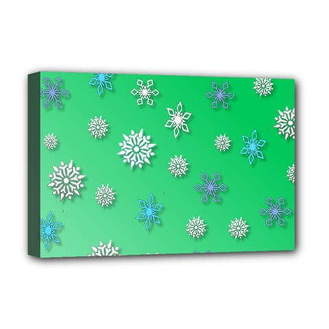 Snowflakes Winter Christmas Overlay Deluxe Canvas 18  X 12