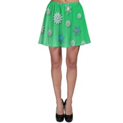 Snowflakes Winter Christmas Overlay Skater Skirt