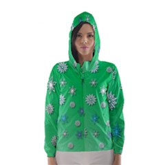 Snowflakes Winter Christmas Overlay Hooded Wind Breaker (women)