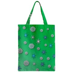 Snowflakes Winter Christmas Overlay Zipper Classic Tote Bag