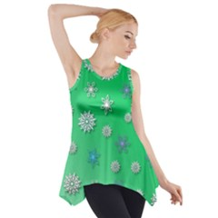 Snowflakes Winter Christmas Overlay Side Drop Tank Tunic