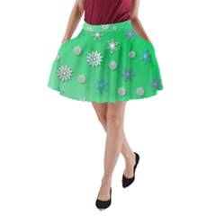 Snowflakes Winter Christmas Overlay A Line Pocket Skirt