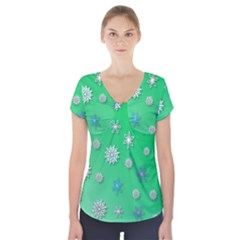 Snowflakes Winter Christmas Overlay Short Sleeve Front Detail Top