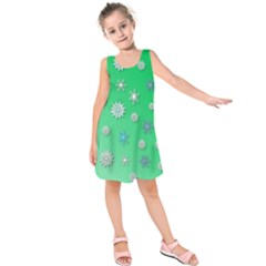 Snowflakes Winter Christmas Overlay Kids  Sleeveless Dress