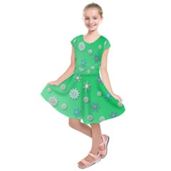 Snowflakes Winter Christmas Overlay Kids  Short Sleeve Dress