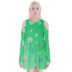 Snowflakes Winter Christmas Overlay Velvet Long Sleeve Shoulder Cutout Dress