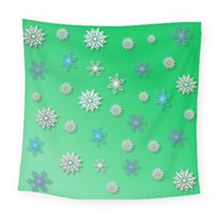 Snowflakes Winter Christmas Overlay Square Tapestry (large)