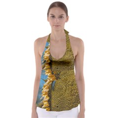 Sunflower Bright Close Up Color Disk Florets Babydoll Tankini Top