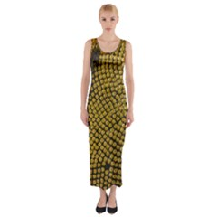 Sunflower Bright Close Up Color Disk Florets Fitted Maxi Dress