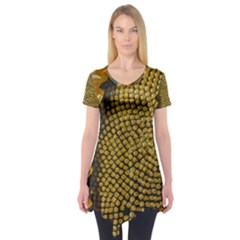 Sunflower Bright Close Up Color Disk Florets Short Sleeve Tunic